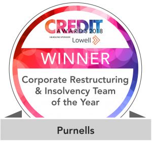 Purnells win at the Credit Awards 2018